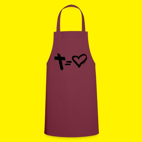 Cross = Heart BLACK - Cooking Apron
