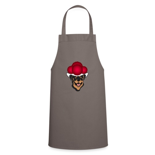 Rottweiler mit rotem Bollenhut - Kochschürze