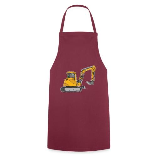 BAGGER, gelbe Baumaschine mit Schaufel und Ketten - Kochschürze