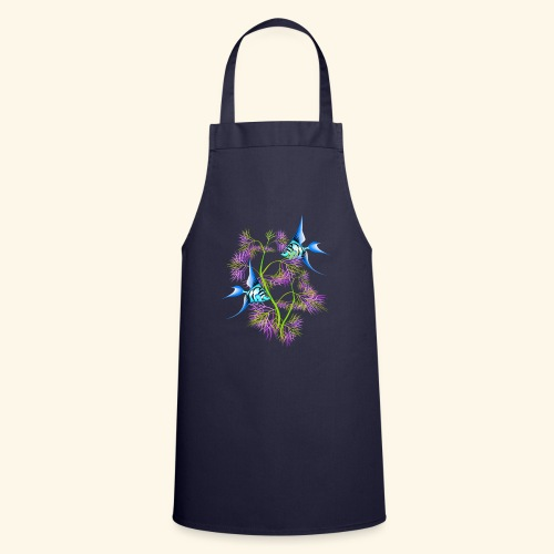 Tropical blue Fish Swimming around plants - Cooking Apron