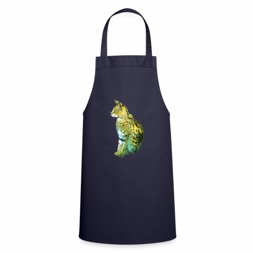 Schöner sitzender Serval - Kochschürze