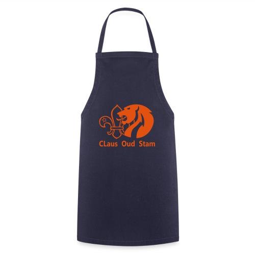 claus oud stamlogotekst oranje - Keukenschort