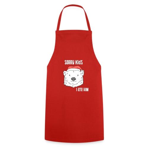 Funny Christmas gift. Bear ate Santa Claus joke. - Cooking Apron