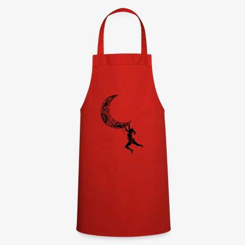 Climbing Woman Girl moon - Climber on the moon - Cooking Apron