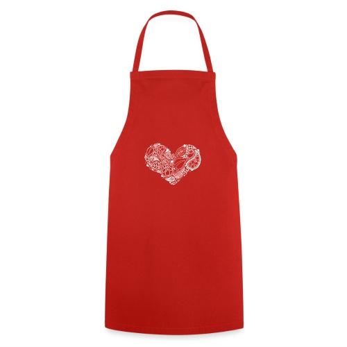 White Leaf Heart Mandala - Cooking Apron