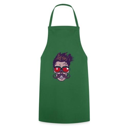 tete de mort hipster skull crane moustache lunette - Tablier de cuisine