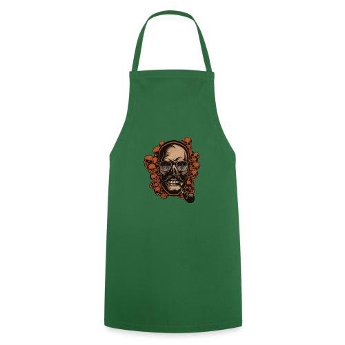 tete de mort hipster skull crane pipe moustache fa - Tablier de cuisine