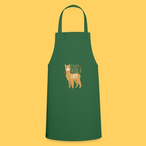 Crazy alpaca lady with love hearts - Cooking Apron