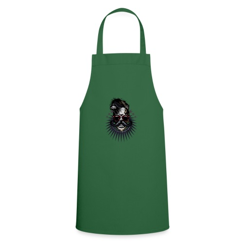 tete de mort hipster crane moustache skull logo lu - Tablier de cuisine