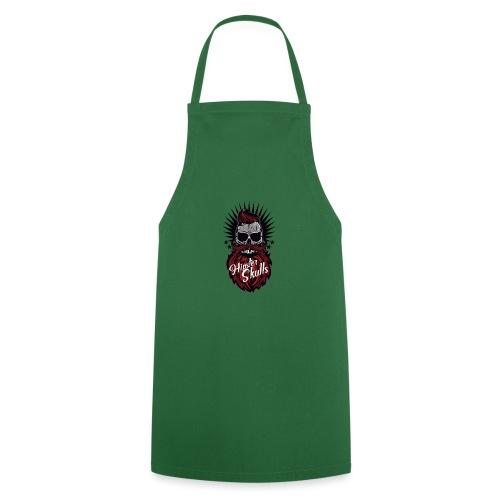 tete de mort hipster skull moustache barbe logo ba - Tablier de cuisine