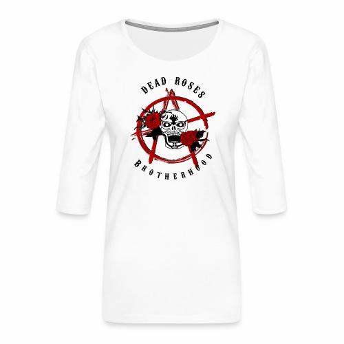 Dead Roses Anarchy Skull Black - Women's Premium 3/4-Sleeve T-Shirt