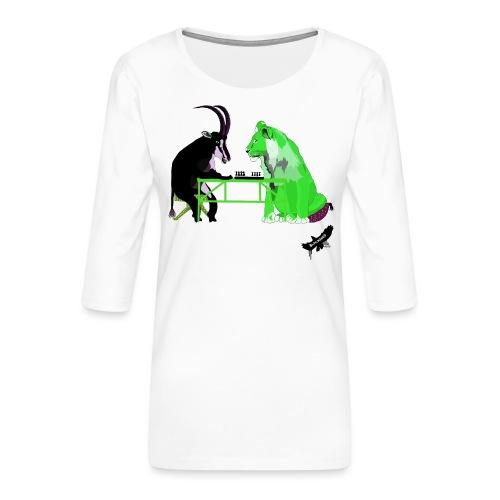 Playing Senet by BlackenedMoonArts, green w. logo - Dame Premium shirt med 3/4-ærmer