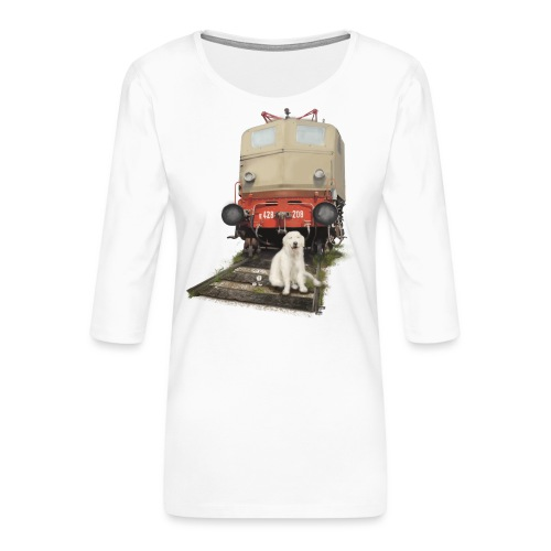 Golden Retriever with Train - Maglietta da donna premium con manica a 3/4