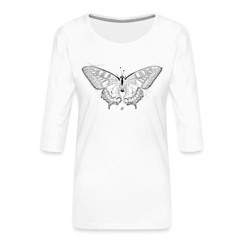 Butterfly - Maglietta da donna premium con manica a 3/4