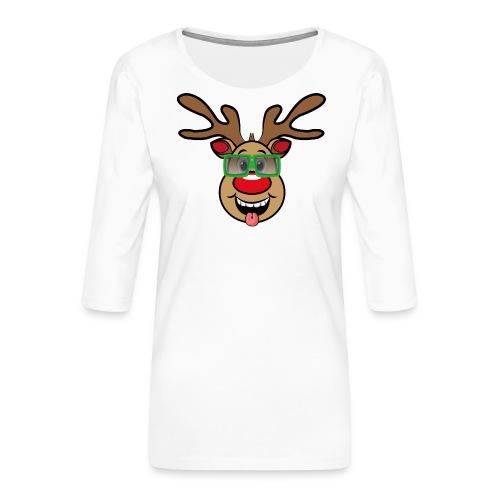 Weihnachten Rudi mit Brille - Frauen Premium 3/4-Arm Shirt