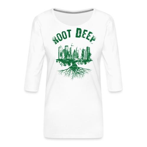 Root deep Urban grün - Frauen Premium 3/4-Arm Shirt