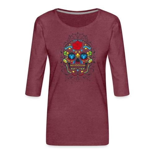 Rose und Diamantschädel - Frauen Premium 3/4-Arm Shirt