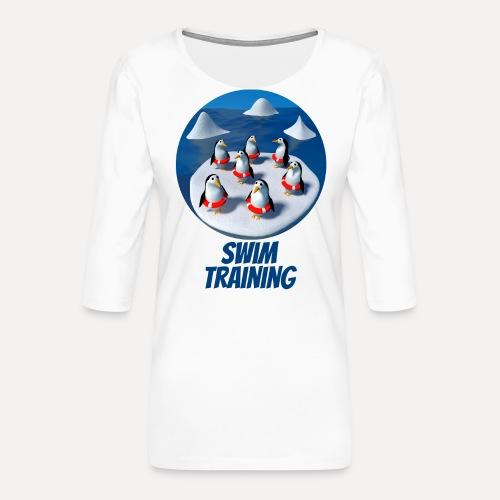 Pinguine beim Schwimmunterricht - Women's Premium 3/4-Sleeve T-Shirt