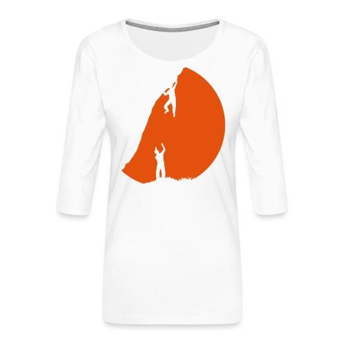 Boulderer mit Spotter im Sonnenuntergang - Frauen Premium 3/4-Arm Shirt