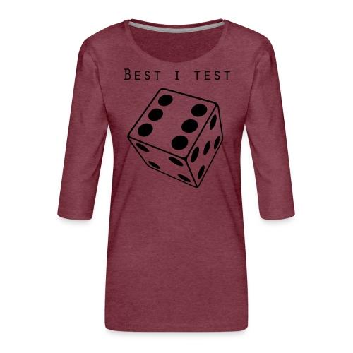 Best i test - Premium T-skjorte med 3/4 erme for kvinner