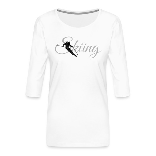 Skiing Skifahrerin (Grau) Wintersport Apres-Ski - Frauen Premium 3/4-Arm Shirt