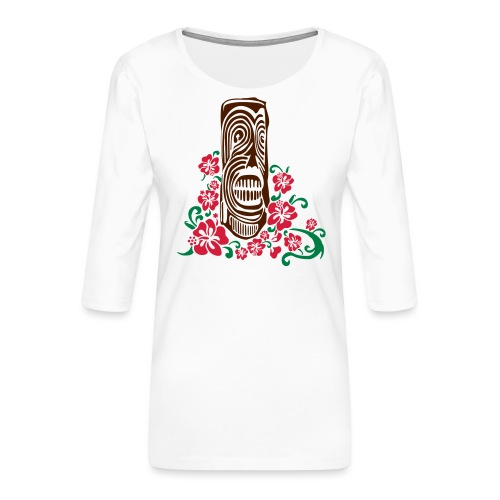 Tiki Totem with Hibiscus Flowers - Women's Premium 3/4-Sleeve T-Shirt