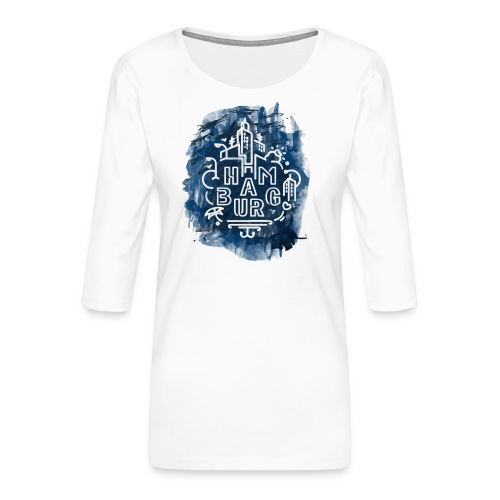Hamburg_Ink.png - Frauen Premium 3/4-Arm Shirt