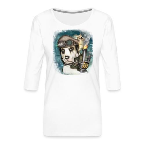Steampunk Dog #2b - Maglietta da donna premium con manica a 3/4