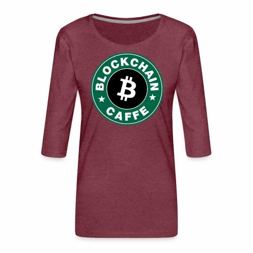BlockChain Caffè Logo - Maglietta da donna premium con manica a 3/4