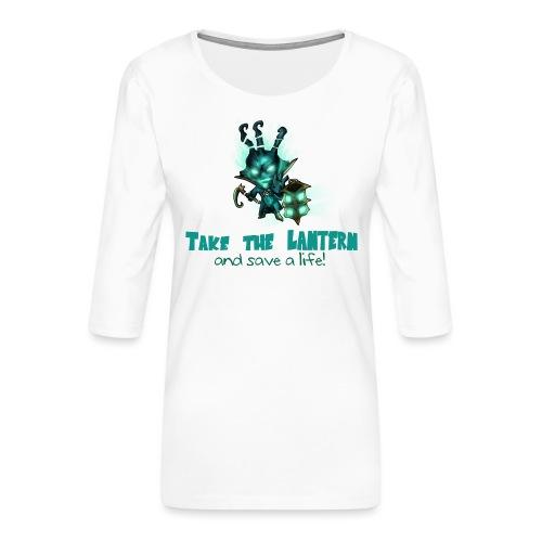 Chibi Thresh con scritta TAZZA - Maglietta da donna premium con manica a 3/4