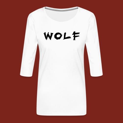 Wolf Font png - Vrouwen premium shirt 3/4-mouw