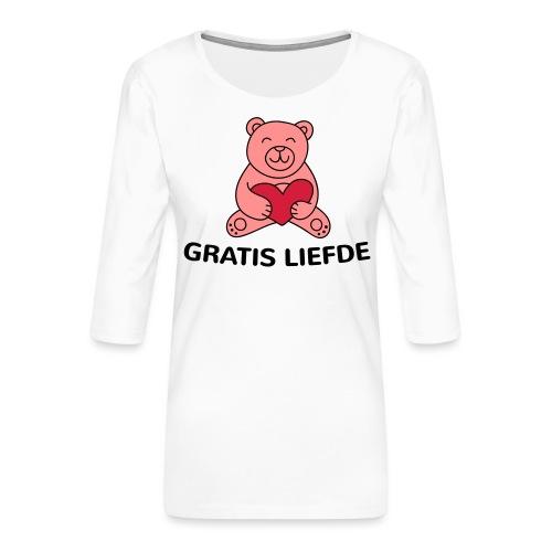 Grappige Rompertjes: Gratis liefde - Vrouwen premium shirt 3/4-mouw