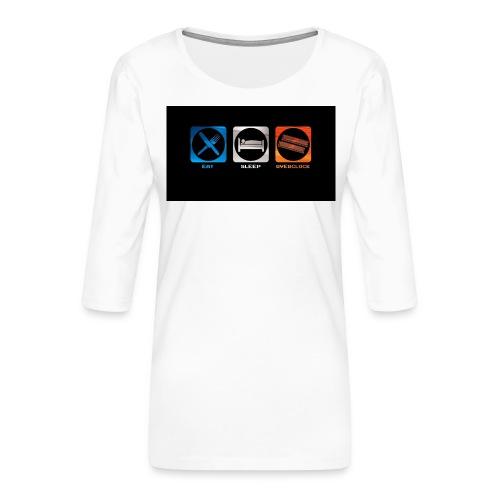 eat_sleep_overclock - Camiseta premium de manga 3/4 para mujer