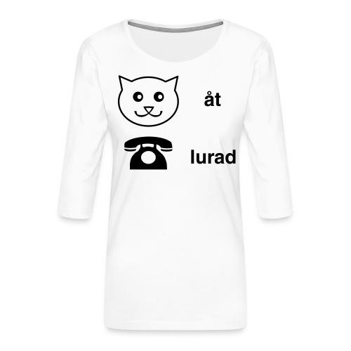 Katt åt telefon - Premium-T-shirt med 3/4-ärm dam