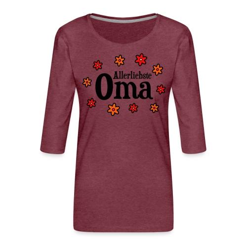 Allerliebste Oma Blumen Geschenk - Frauen Premium 3/4-Arm Shirt