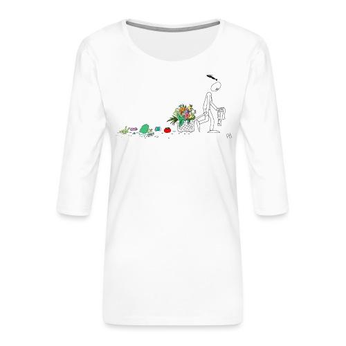 frukt og grønt handleveske - Premium T-skjorte med 3/4 erme for kvinner