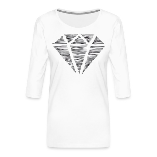 Diamante - Camiseta premium de manga 3/4 para mujer