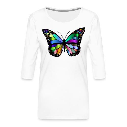 Kolorwy Motyl - Koszulka damska Premium z rękawem 3/4