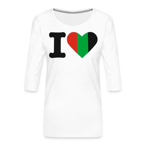 hartjeroodzwartgroen - Vrouwen premium shirt 3/4-mouw