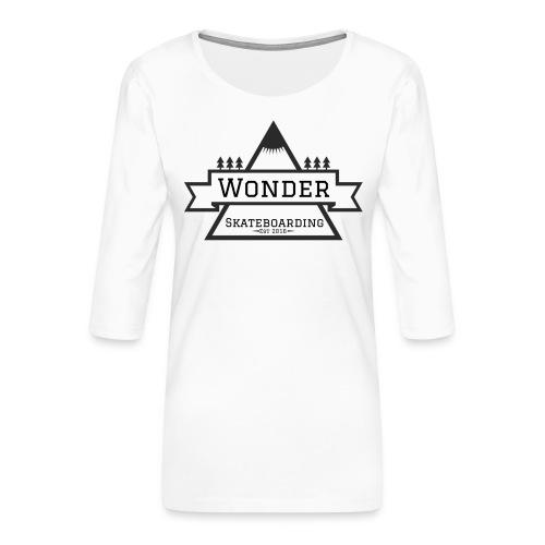 Wonder T-shirt: mountain logo - Dame Premium shirt med 3/4-ærmer