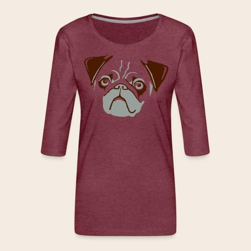 otiz mops kopf 2farbig - Frauen Premium 3/4-Arm Shirt