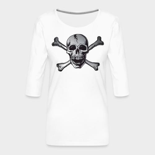 CALAVERA PIRATA PLATA - Camiseta premium de manga 3/4 para mujer