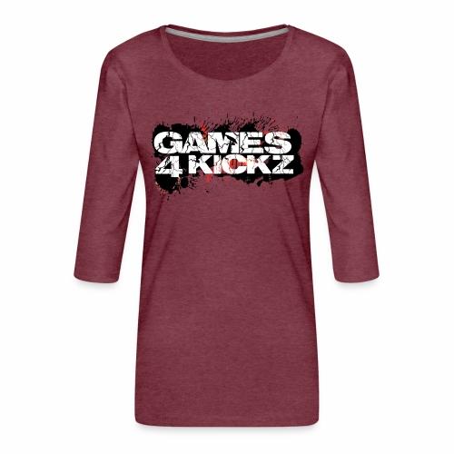 Games4Kickz Logo Splattered Background - Women's Premium 3/4-Sleeve T-Shirt