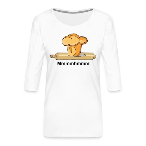 Brioche française et rouleau à patisserie - T-shirt Premium manches 3/4 Femme