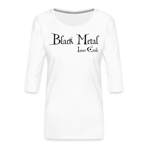 black metal Inner Circle, black ink - Women's Premium 3/4-Sleeve T-Shirt