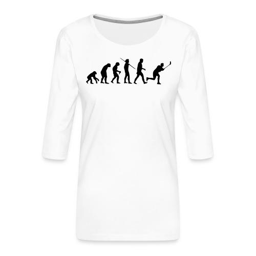 Floorball Evolution Black - Frauen Premium 3/4-Arm Shirt