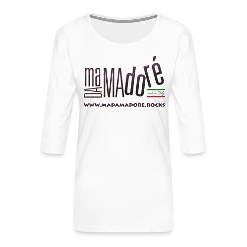 T-Shirt - Donna - Logo Standard + Sito - Maglietta da donna premium con manica a 3/4