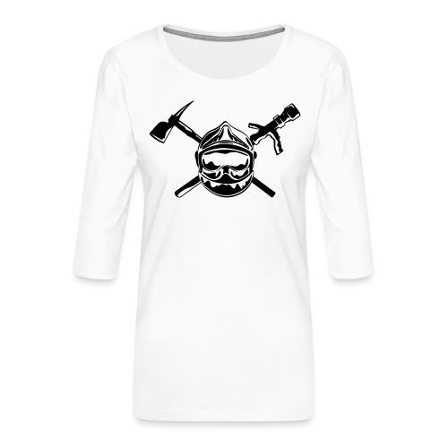 casque_pompier_hache et lance - T-shirt Premium manches 3/4 Femme