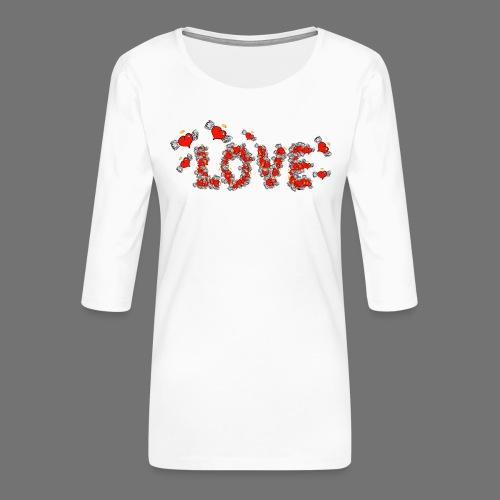 Flying Hearts LOVE - Naisten premium 3/4-hihainen paita