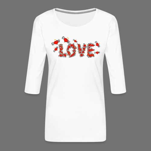 Flying Hearts LOVE - Women's Premium 3/4-Sleeve T-Shirt